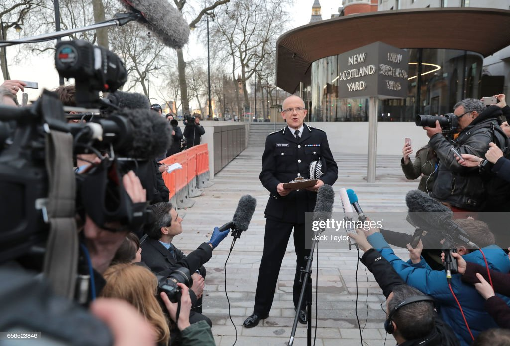 Assistant Commissioner Mark Rowley speaks of the Metropolitan Police makes a statement outside of New Scotland Yard on March 22, 2017 in London, England. A police officer has been stabbed near to the British Parliament and the alleged assailant shot by armed police. Scotland Yard report they have been called to an incident on Westminster Bridge where several people have been injured by a car.
