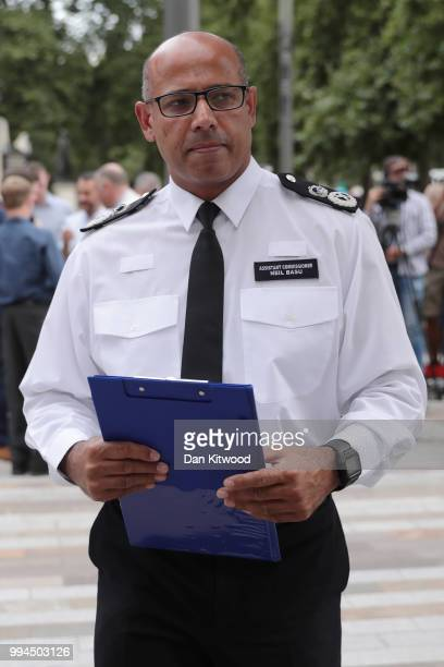 Assistant Commissioner of Specialist Operations Neil Basu at New Scotland Yard reads a statement to the media outsde New Scotland Yard on July 9 2018...