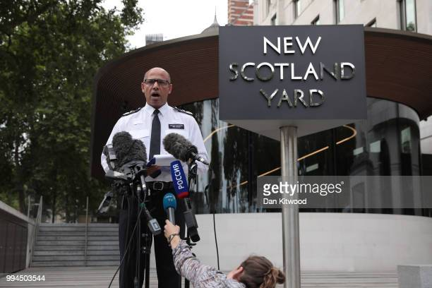 Assistant Commissioner of Specialist Operations Neil Basu at New Scotland Yard reads a statement to the media outside New Scotland Yard on July 9...