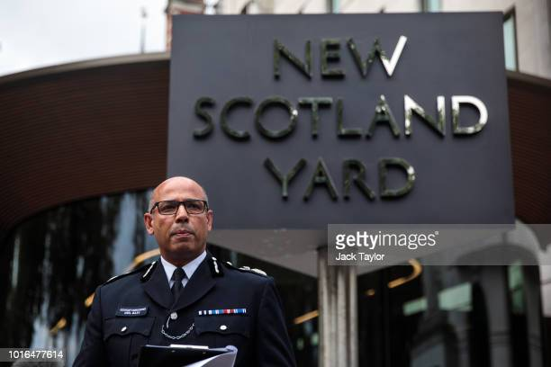 Assistant Commissioner of Specialist Operations Neil Basu makes a statement to the press outside New Scotland Yard on August 14, 2018 in London,...