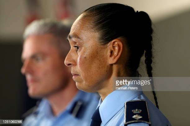 Assistant Commissioner Richard Chambers and Waitematā District Commander Superintendent Naila Hassan speak to the media during a press conference at...
