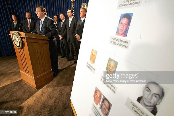 Assistant Director for the New York office of the FBI Pasquale D'Amuro speaks about the arrest of members of the Gambino crime family during a news...