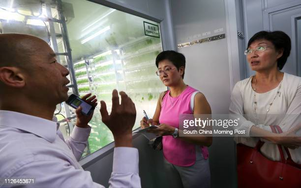 Assistant Director Liu Kweikin introduces to Democratic Party members Helena Wong Pikwan and Josephine Chan Shuying on vegetables quarantine and...