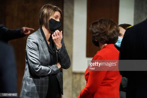 Assistant Director of the Counterterrorism Division Jill Sanborn speaks to Sen. Amy Klobuchar before a Senate Homeland Security and Governmental...
