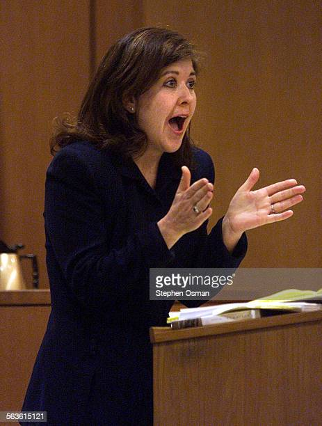 Assistant District Attorney Maeve Fox makes a point during closing arguments in the rape trial of Andrew Luster in Ventura County Superior Court...