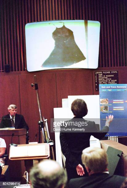 Assistant District Attorney Marcia Clark exhibiting evidence at the OJ Simpson murder trial, Los Angeles, California, July 5, 1995.