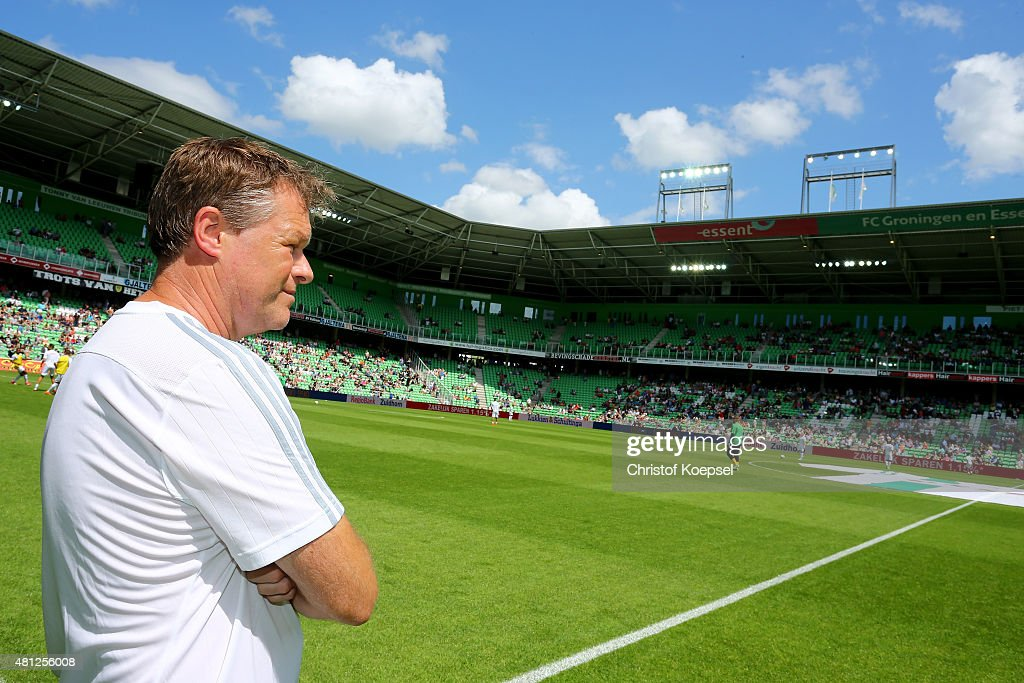 Assistant Erwin Koeman of FC Southampton looks on prior to the friendly match between FC Groningen and FC Southampton at Euroborg Arena on July 18, 2015 in Groningen, Netherlands.