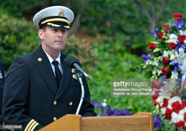 BEACH CALIF USA Assistant Fire Chief Mike DuRee during the Long Beach Police and Fire Memorial Service on May 8 2012