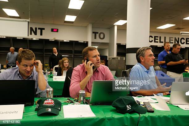Assistant General Manager Dan Kantrovitz Director of Professional Scouting/Baseball Development Dan Feinstein and General Manager Billy Beane of the...