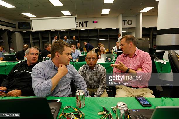 Assistant General Manager Dan Kantrovitz Director of Scouting Eric Kubota and Special Assistant to the General Manager Grady Fuson of the Oakland...