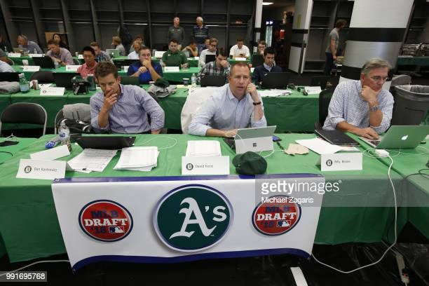 Assistant General Manager Dan Kantrovitz General Manager David Forst and Executive Vice President of Baseball Operations Billy Beane of the Oakland...
