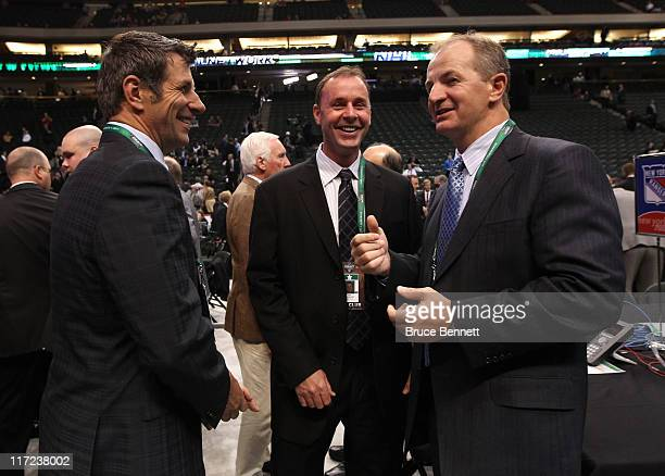Assistant General Manager Marc Bergevin of the Chicago Blackhawks General Manager Joe Nieuwendyk of the Dallas Stars and Vice President of Hockey...