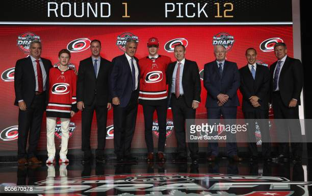 Assistant general manager Mike Velluci draft runner pro scout/advisor Joe Nieuwendyk general manager Ron Francis 12th overall pick Martin Necas head...