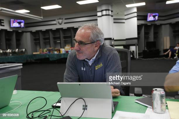 Assistant General Manager Pro Scouting Player Personnel Dan Feinstein of the Oakland Athletics sits in the Athletics Draft Room on the opening day of...
