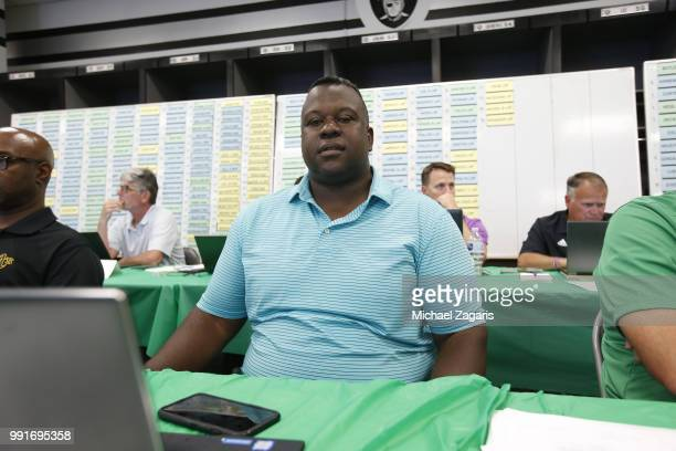 Assistant General Manager/Director of Player Personnel Billy Owens of the Oakland Athletics sits in the Athletics Draft Room on the opening day of...