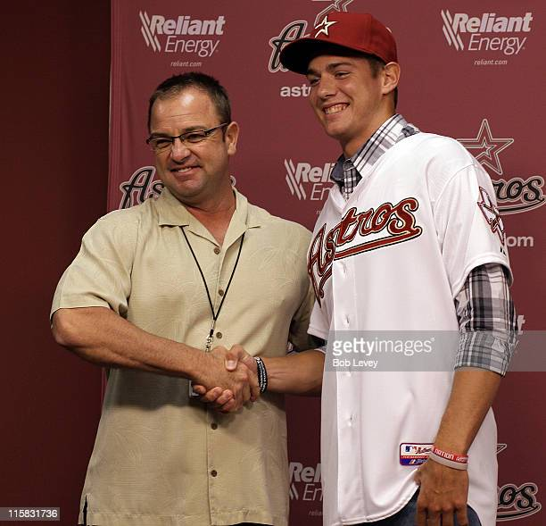 Assistant General Manager/Director of Scouting Bobby Heck announces the Astros have signed RHP Adrian Houser during their secondround selection in...