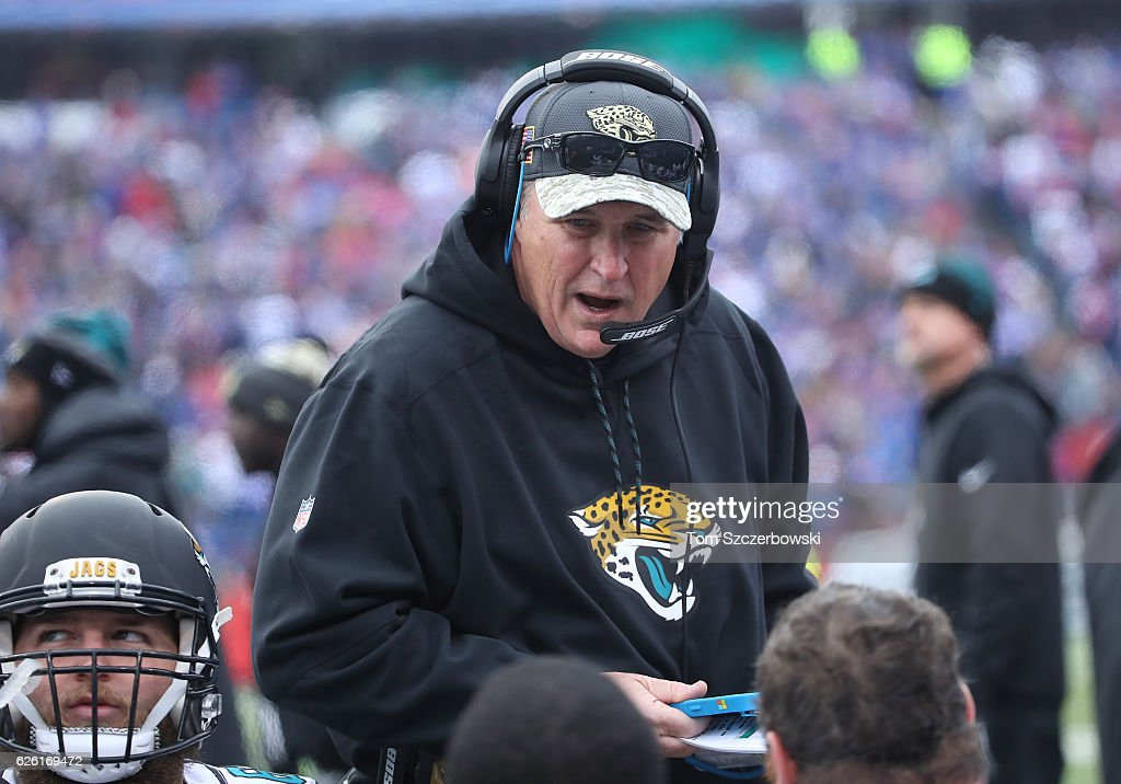 Assistant head coach Doug Marrone of the Jacksonville Jaguars talks to his players on the bench during NFL game action against the Buffalo Bills at New Era Field on November 27, 2016 in Orchard Park, New York.