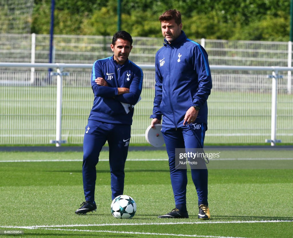 L-R Assistant head coach Jesús Pérez and Tottenham Hotspur manager Mauricio Pochettino during a Tottenham Hotspur training session ahead of the UEFA Champions League Group H match against Borussia Dortmund at Tottenham Hotspur Training centre on 12 Sept , 2017 in Enfield, England.