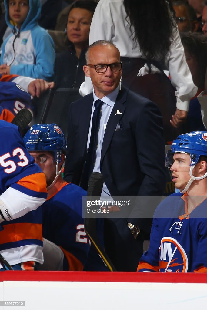 Assistant Head coach Kelly Buchberger looks on from the bench during the game against the Buffalo Sabres at Barclays Center on October 7, 2017 in New York City.
