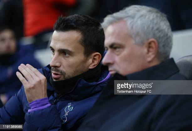 Assistant head coach of Tottenham Hotspur Joao Sacramento with Jose Mourinho Head Coach of Tottenham Hotspur during the Premier League match between...