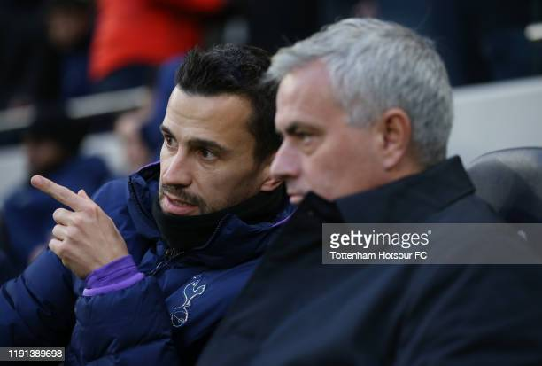 Assistant head coach of Tottenham Hotspur Joao Sacramento with Jose Mourinho, Head Coach of Tottenham Hotspur during the Premier League match between...