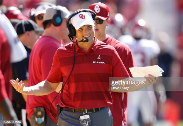 Assistant head coach Shane Beamer of the Oklahoma Sooners reacts to a call by the referee in the second half of play against the Iowa State Cyclones...