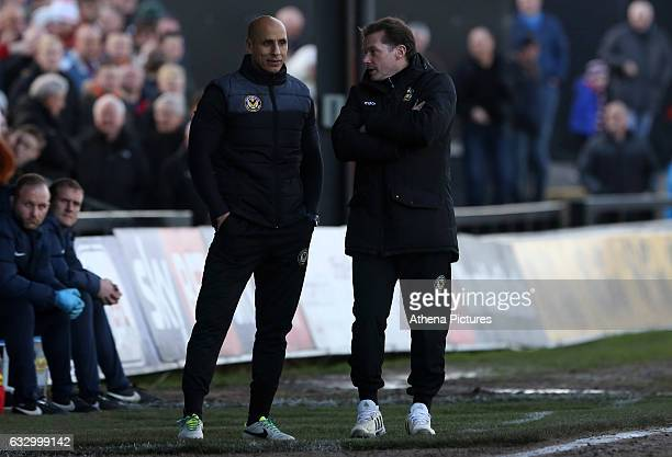 Assistant manager Dino Maamria and Graham Westley of Newport County AFC during the Sky Bet League Two match between Newport County and Hartlepool...