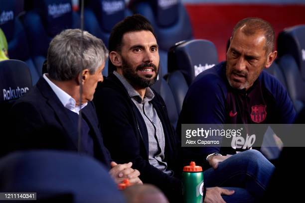 Assistant Manager Eder Sarabia of FC Barcelona looks on before the Liga match between FC Barcelona and Real Sociedad at Camp Nou on March 07 2020 in...