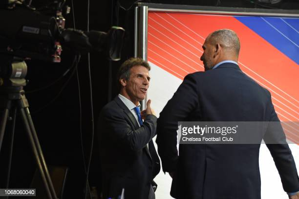 Assistant Manager Gianfranco Zola and Ruud Gullit at the Emirates FA Cup Third Round Draw at Stamford Bridge on December 3 2018 in London England