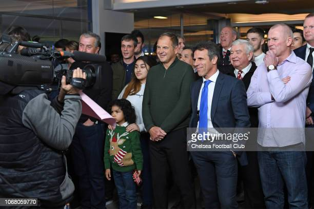 Assistant Manager Gianfranco Zola of Chelsea in the audience at the Emirates FA Cup Third Round Draw at Stamford Bridge on December 3 2018 in London...