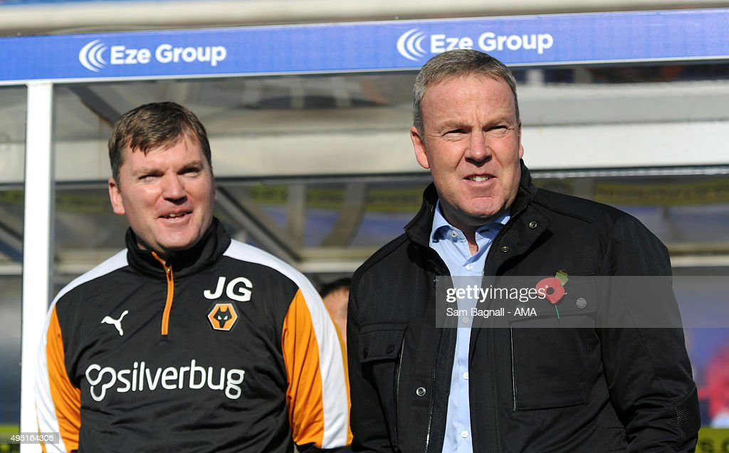 Assistant manager Joe Gallen and Kenny Jackett manager / head coach of Wolverhampton Wanderers before the Sky Bet Championship match between Birmingham City and Wolverhampton Wanderers at St Andrews on October 31, 2015 in Birmingham, United Kingdom.