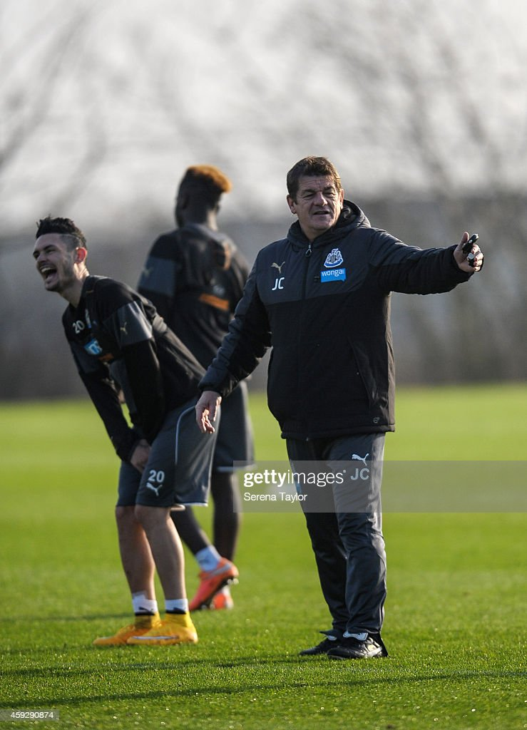 Assistant Manager John Carver gestures with his hands during a Newcastle United training session at The Newcastle United Training Centre on November 20, 2014, in Newcastle upon Tyne, England.