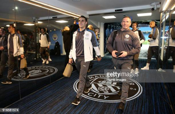 Assistant Manager Michael Appleton and Matty James of Leicester City arrive at Etihad Stadium ahead of the Premier League match between Manchester...