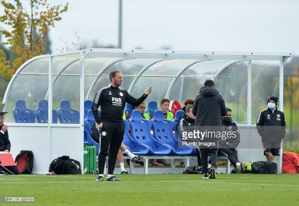 Assistant Manager of Leicester City U18s Steve Kirby during the Leicester City v Arsenal: U18 Premier League match at Seagrave on October 23, 2021 in...