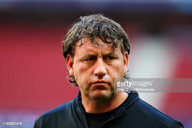 Assistant manager of Liverpool Peter Krawietz takes part in a training session during previews ahead of the UEFA Champions League Final at Estadio...