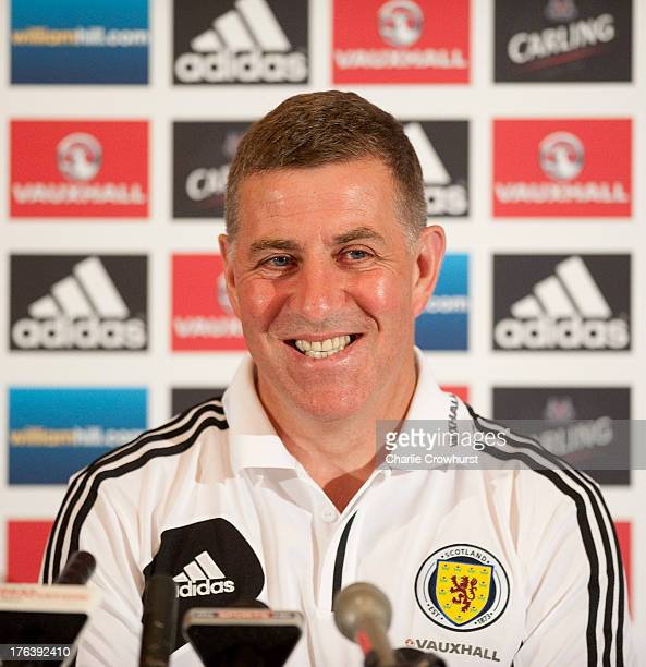 Assistant manager of Scotland Mark McGhee talks to the media during the Scotland Press Conference at Sopwell House ahead of the friendly match...