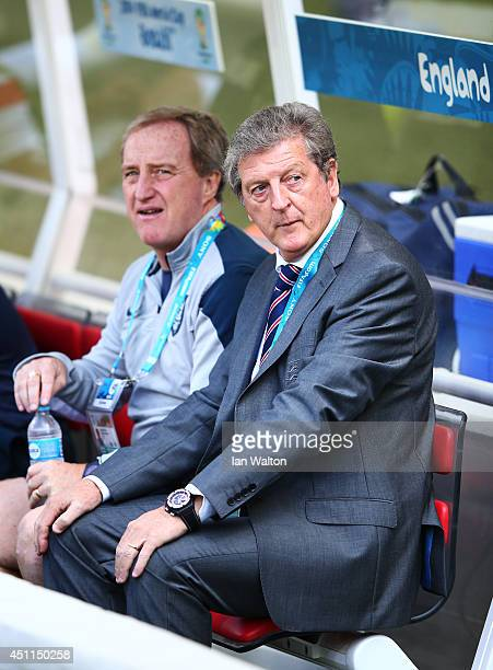Assistant manager Ray Lewington and England manager Roy Hodgson look on during the 2014 FIFA World Cup Brazil Group D match between Costa Rica and...