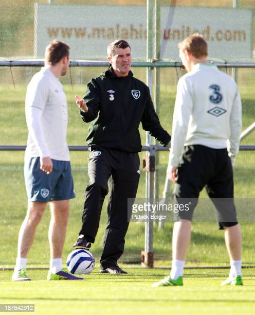 Assistant manager Roy Keane of Republic of Ireland issues instructions during a training session at Gannon Park on November 13 2013 in Dublin Ireland