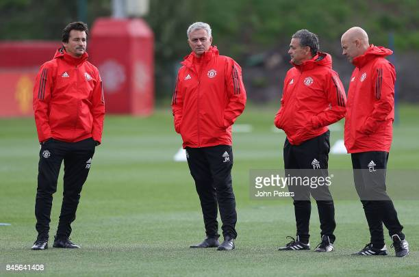 Assistant Manager Rui Faria Manager Jose Mourinho Coach Ricardo Formosinho and Coach Carlos Lalin of Manchester United in action during a first team...