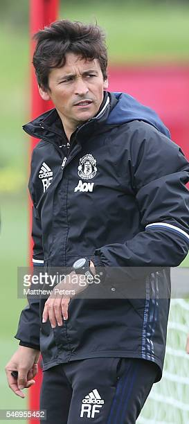 Assistant Manager Rui Faria of Manchester United in action during a first team training session at Aon Training Complex on July 13 2016 in Manchester...