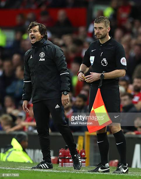 Assistant Manager Rui Faria of Manchester United instructs players during the Premier League match between Manchester United and Burnley at Old...