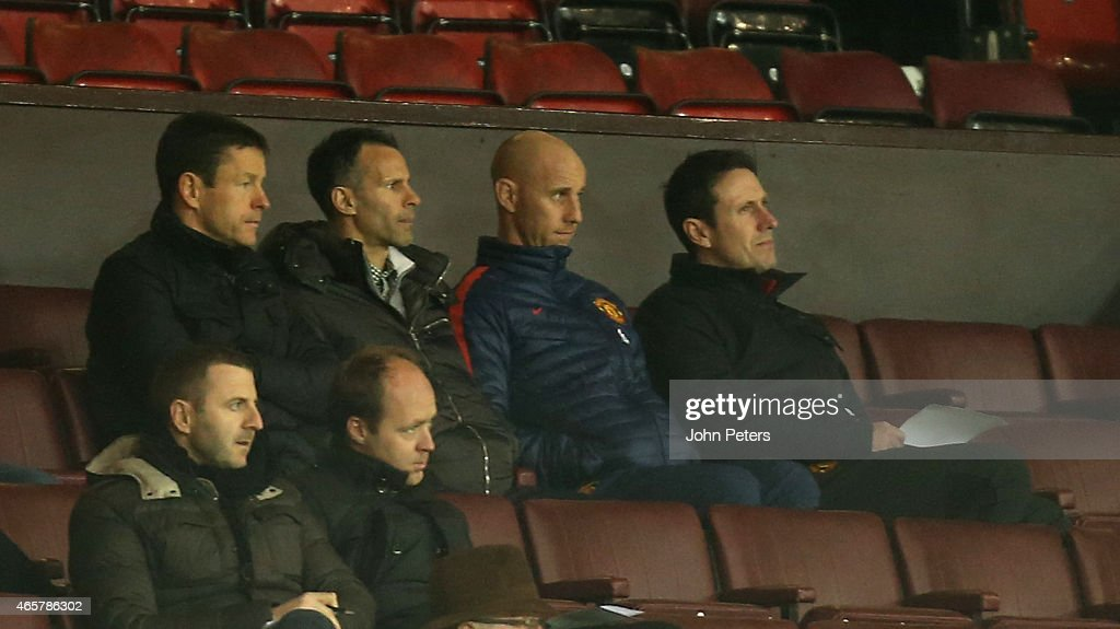 Assistant Manager Ryan Giggs and U21 Team Coach Nicky Butt of Manchester United watch from the directors box during the Barclays U21 Premier League match between Manchester United U21s and Tottenham Hotspur U21s at Old Trafford on March 10, 2015 in Manchester, England.