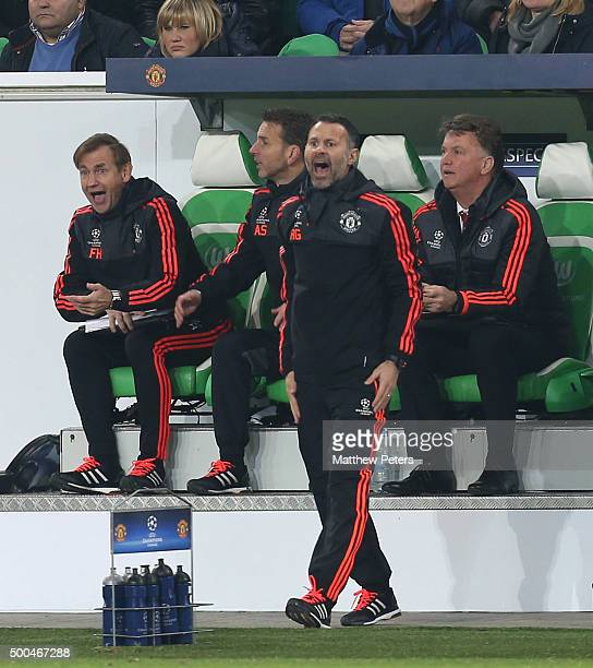 Assistant Manager Ryan Giggs of Manchester United appeals a decision during the UEFA Champions League match between VfL Wolfsburg and Manchester...