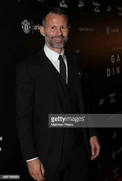 Assistant Manager Ryan Giggs of Manchester United arrives for the United for UNICEF Gala Dinner at Old Trafford on November 29, 2015 in Manchester,...