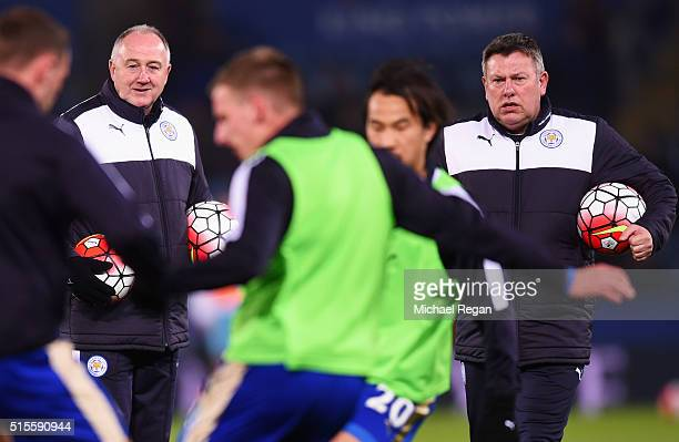 Assistant managers of Leicester City Steve Walsh and Craig Shakespeare watch players perform drills prior to the Barclays Premier League match...