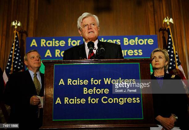 Assistant Minority Leader Richard J Durbin DIll Sen Edward M Kennedy DMass and Sen Hillary Rodham Clinton DNY during a news conference on the Senate...