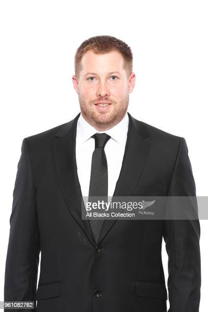 Assistant Performance Analyst Hayden Chapman poses during a New Zealand All Blacks headshots session on May 21 2018 in Auckland New Zealand