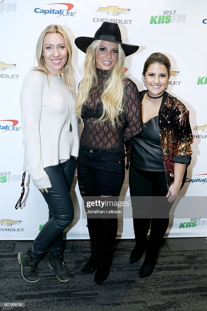 Assistant Program Director/Music Director Beata Czechowski, recording artist Britney Spears, and radio personality Sisanie attend 102.7 KIIS FM's Jingle Ball 2016 presented by Capital One at Staples Center on December 2, 2016 in Los Angeles, California.