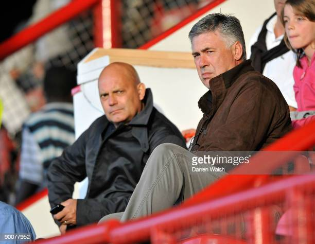 Assistant Ray Wilkins and manager Carlo Ancelotti of Chelsea watch from the stands during the Barclays Premier Reserve League South match between...
