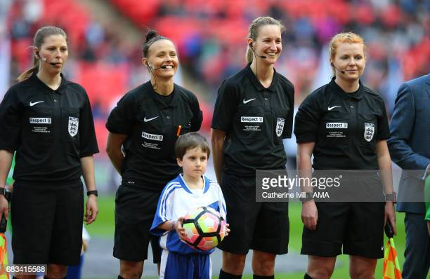 LONDON ENGLAND MAY 13 Assistant Referee Abigail Marriot referee Rebecca Welch fourth official Helen Conley and assistant referee Helen Byrne during...